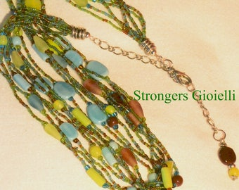 Coral Necklace and semiprecious stones