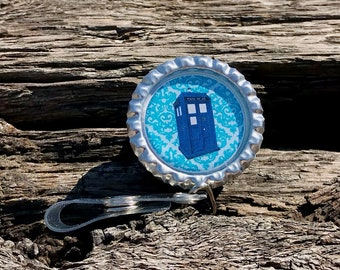 Doctor Who Tardis Damask Retractable ID Badge Holder Badge Clip BBC Doctor Who
