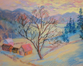 Pastel drawing, Winter Mountains, Landscape, Mountain village, Original drawing, Gentle morning,  Winter trees, Pastel art by Anna Trachuk