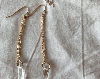 Quartz spears earrings