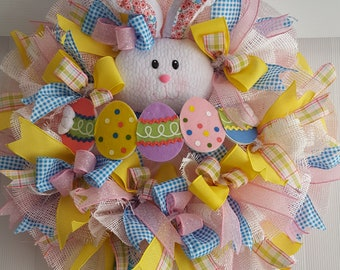 Easter Wreath,Easter Bunny Wreath,Wreath for Easter,Easter Door Wreath,Easter Rabbit Wreath,Easter Wreath with Bunny