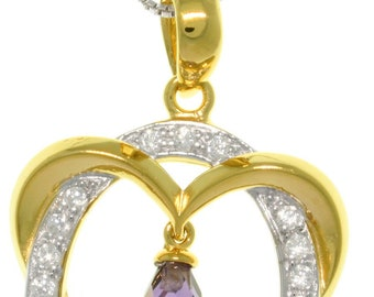Jewelry Trends 14k Gold over Silver CZ Necklace