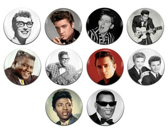 10x 50's Rock 'n' Roll Artists Various 25mm / 1 Inch D Pin Button Badges
