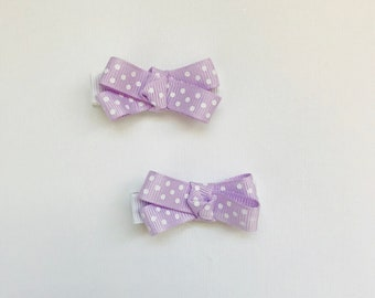 Lavender/white polka dot collection hair clips for infant and toddler