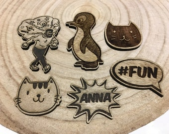 Laser carved and engraved wooden text and figures/laser cut and engraved wooden text and drawing