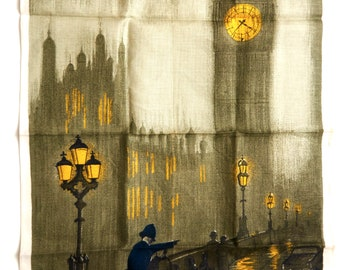Vintage Lamont London Fog, Houses Of Parliament Irish Linen Tea Towel