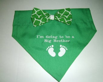 Gender Reveal, Dog Bandana, Pregnancy Reveal,  I'm Going to be a Big Brother, Bow, Baby Feet,  Baby Announcement, Baby Gift, Shower Gift