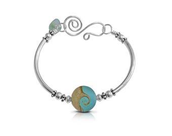 Boho Bangle Bracelet for Women, Mermaid Jewelry Ocean Wave Sea glass Bracelet, Layering Bracelet Silver Jewelry, Beach Bracelets, Gifts