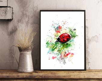 Lady Bug Art Print, Watercolor Illustration Lady Bug, Red Bug Artwork, Lady Bug Art print,
