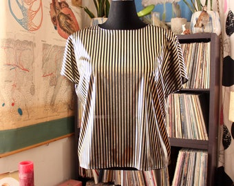 vintage disco glam striped top . sheer black & liquid gold blouse, womens size large