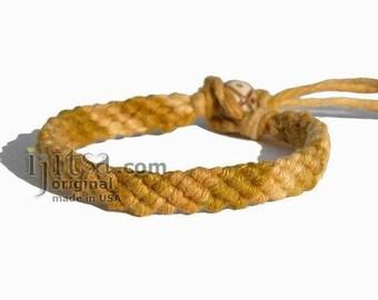Ultra Soft Rainbow Golden brown Hemp Diagonal Woven Surfer Bracelet/Anklet