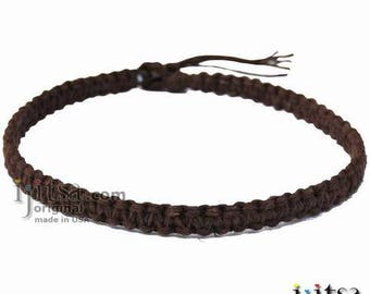 Light Brown Flat Wide Hemp Surfer Style Choker Necklace