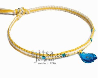 Yellow white flat hemp necklace light blue leaf glass pendant