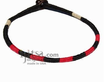 Leather necklace wrapped with Black, Red and Natural hemp