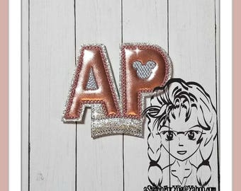 AP Letters Center (Add On ~ 1 Pc) Mr Miss Mouse Ears Headband ~ In the Hoop ~ Downloadable DiGiTaL Machine Embroidery Design by Carrie