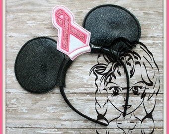 AWARENESS Ribbon (3 Piece) Mr Miss Mouse Ears Headband ~ In the Hoop ~ Downloadable DiGiTaL Machine Emb Design by Carrie