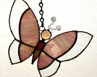 Stained Glass Pink Butterfly