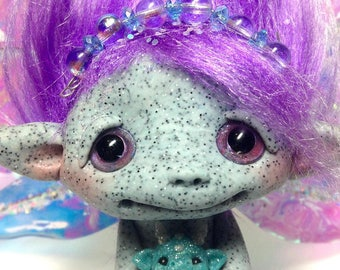 "Grand Fairy Trollfling Troll ""Jenny"" with her newborn baby girl dragon ""Raina"" by Amber Matthies"