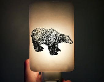 Polar Bear Nightlight Black on White Fused Glass Night Light - Gift for Baby Shower or Nature Lover by Happy Owl Glass - Arctic art animal