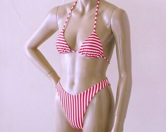 80s High Leg Brazilian Bikini Bottom and Triangle Top in Red and White Candy Stripe