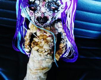 Mermaid Valentine Day Of The Dead Fabric Art Doll Sirena Darkmoon