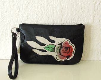 Magnolia Blossom Flower Leather Wristlet Recycled Upcycled Clutch