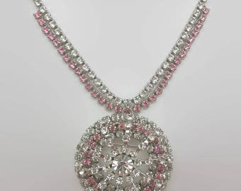 Vintage Pink & Clear Rhinestone Necklace With Convertible Pin Pendant