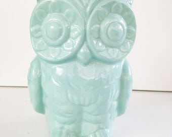 SECONDS SALE! Tiki Owl Vase. Owl Planter, Ceramic Vase, Vintage Design, Pencil Holder, Blue, Tiki Decor, Bar Swizzle Holder