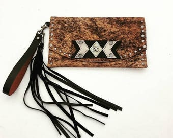 Brindle Cowhide Clutch with Leather Aztec Accent