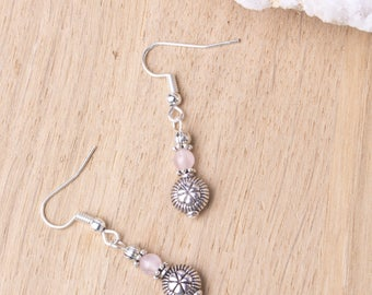 Rose quartz ethnic earrings - Gemstone and silver bead small dangle earrings | Ethnic jewelry | Boho earrings | Tibetan | Pink stone