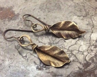 Brass Elm Leaf earrings, handmade, hand hammered, ready to ship