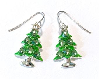 Christmas Tree Earrings - Christmas Jewelry- Peridot Swarovski Crystal