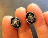 Onyx Oval Stud Earrings set with Marcasite Starbursts in Sterling Silver