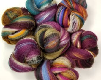 Curiosity Shop battlings-- mini batts (2 oz.) organic polwarth wool, silk, bamboo