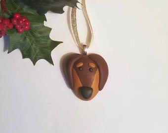Dachshund Christmas Ornament, Dog Christmas Ornament, Dog Home Decor, polymer clay pet