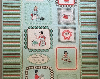 Domestic Diva Lap Quilt, Wall Hanging, Retro fabric quilt, Mint green, brown, kitchen  theme, cupcakes quilt, baking, Fifties style