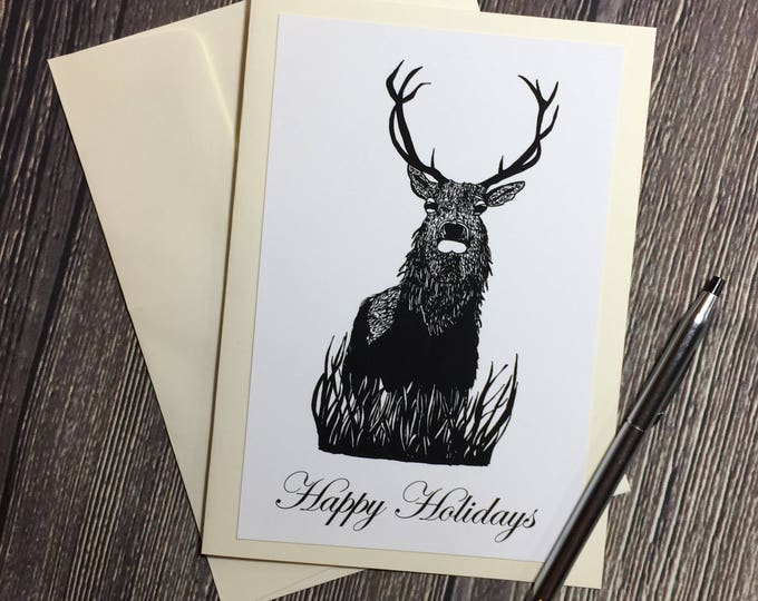 Featured listing image: Blitzen Buck Original Ink Drawing Print - Ivory Greeting Card