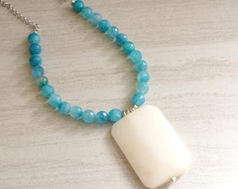 The Keira- Blue Agate and White Jade Pendant Necklace