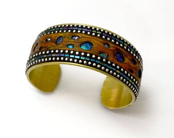 Brass wide Cuff Bracelet with faux burl wood polymer clay blue green Hematite & sterling silver bead inlay iridescent blue purple holes