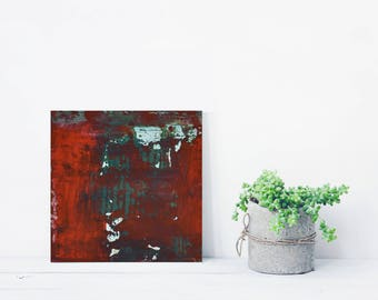 """Small Abstract Painting """"Red Algae"""" Textured acrylic, Gerhard Richter style, Gift Size Art, Collectable Painting, Red, Green, Industrial Art"""