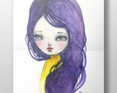 PURPURA - A watercolor portrait study poster print of girl with purple hair and a yellow dress by Danita Art