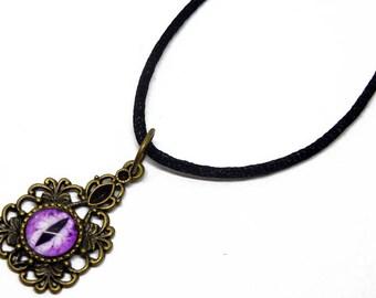 Eye Pendant Glass Dragon Eye Jewelry Purple Dragon Eye Antiqued Brass Filigree Pendant with Necklace