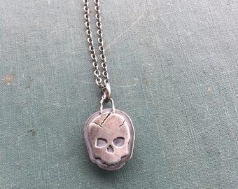 Sleeping Beauty Skull Pendant   Sterling Silver   Turquoise