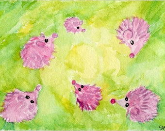 Hedgehogs Watercolor ACEO Original Painting, hedgehogs playing in maze