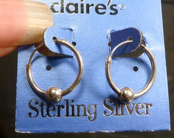 Small Sterling Silver Hoop Earrings 15mm hoops with ball closeout!