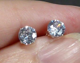 5mm CZ Diamond Stud Earrings in sterling silver post backs Bridal Bridesmaid cartilage 1\2 ct