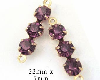 Amethyst Purple Rhinestone Connectors - or Choose Your Color - Glass Beads or Gems - 20mm Triples - Jewelry Supply - One Pair