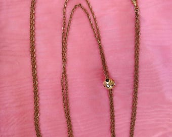 Vintage 1880s Victorian Watch Slide Lariat Necklace Antique Gold Amethyst Delicate Jewelry