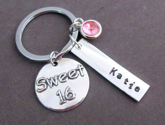 Personalized Sweet 16 Keychain,Sweet 16 Gift,Sweet 16 Jewelry,Birthday gift for her, Granddaughter/daughter sweet 16 Gift, Free Shipping USA