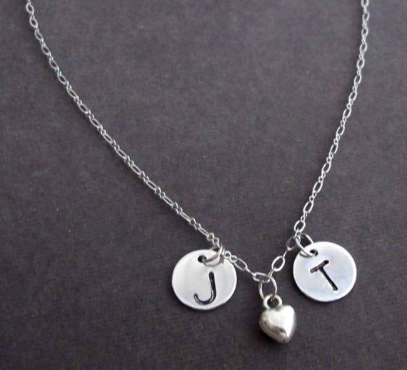 Personalized Silver Heart Necklace,2 Two Initials Necklace, Heart Charm Dainty Necklace, Valentines Gift, Bridesmaid Gift, Free Shipping USA
